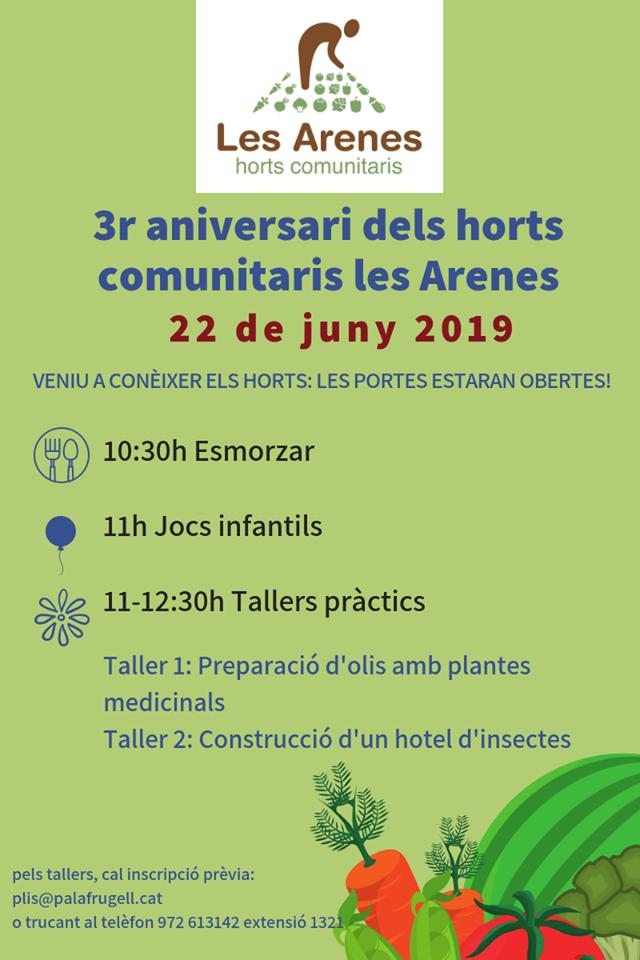 3r Aniversari dels Horts comunitaris de Les Arenes