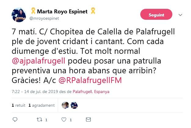 Tweet en el que es denuncia el xivarri que hi ha a Calella de Palafrugell a primera hora del matí