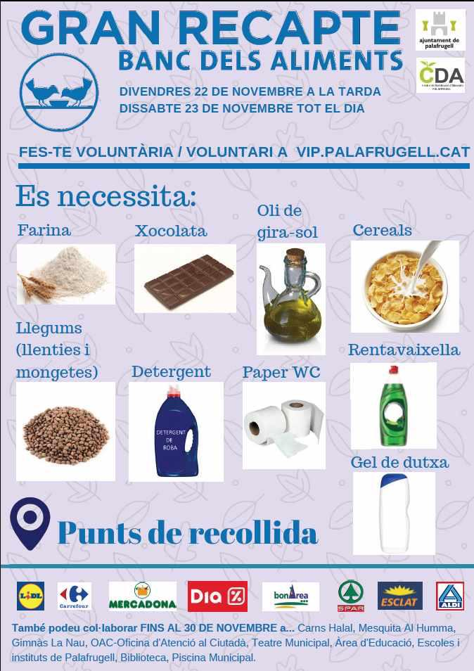 Crida per trobar voluntaris pel Gran Recapte d'Aliments