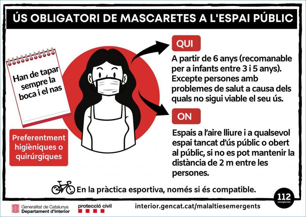 Ús obligatori de la mascatera als espais públics